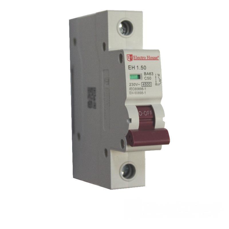 ElectroHouse Автоматический выключатель 1P 50A 4,5kA 230-400V IP20