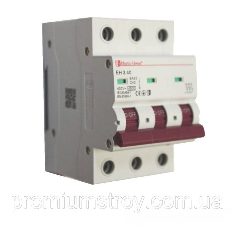 ElectroHouse Автоматический выключатель 3P 40A 4,5kA 230-400V IP20