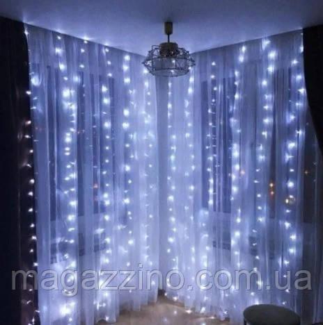 Гирлянда штора водопад светодиодная, 500 LED, Белая, прозрачный провод, 3х2м.