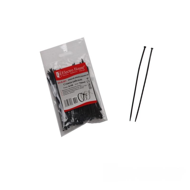 ElectroHouse Стяжка кабельная чёрная 3x100