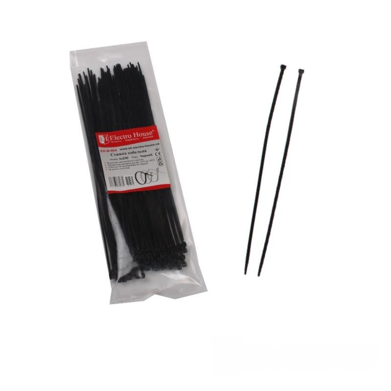 ElectroHouse Стяжка кабельная чёрная 3x250