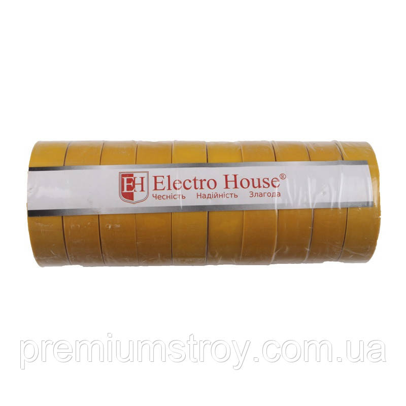 ElectroHouse Изолента желтая 0,15мм х 18мм х 50м