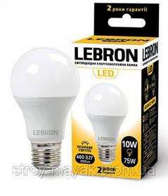 Светодиодная LED лампа LEBRON L-A60, 10W, Е27 яркий свет