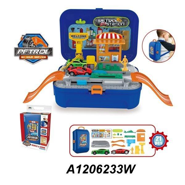 Набор игровой 8019WB  заправка, машинки2шт,фигурка, 20предм, в рюкзаке, в кор-ке,29-19-10см