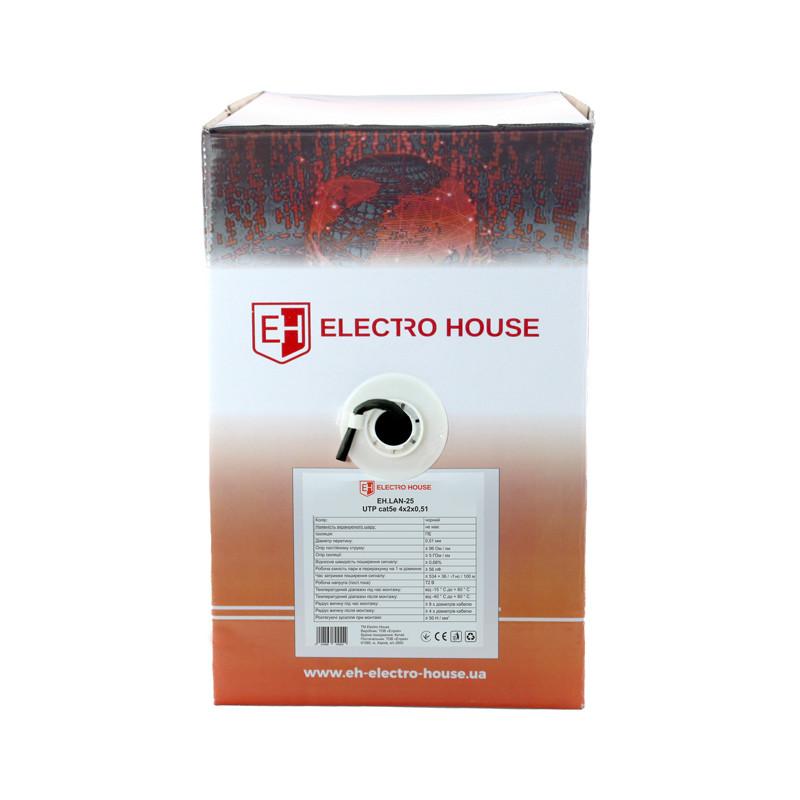 ElectroHouse Кабель UTP 4х2х0,51 CCA черный (наружный монтаж, со стальной проволокой)