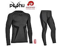Комплект мужского термобелья с шерстью мериноса Puhu Extra Comfort Merino Wool S/M шерстяное термобелье