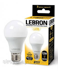 Светодиодная LED лампа LEBRON L-A60, 12W, Е27 яркий свет