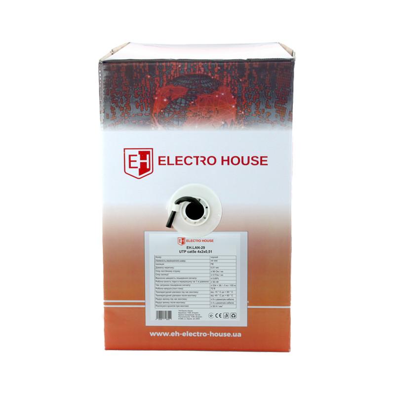 ElectroHouse Кабель UTP 4х2х0,51 Cu черный (наружный монтаж)