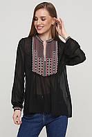 Шифоновые вышиванки Стильная женская блуза вышиванка черная ЕтноМодерн