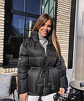 Женская модная зимняя куртка с шнурком на талии