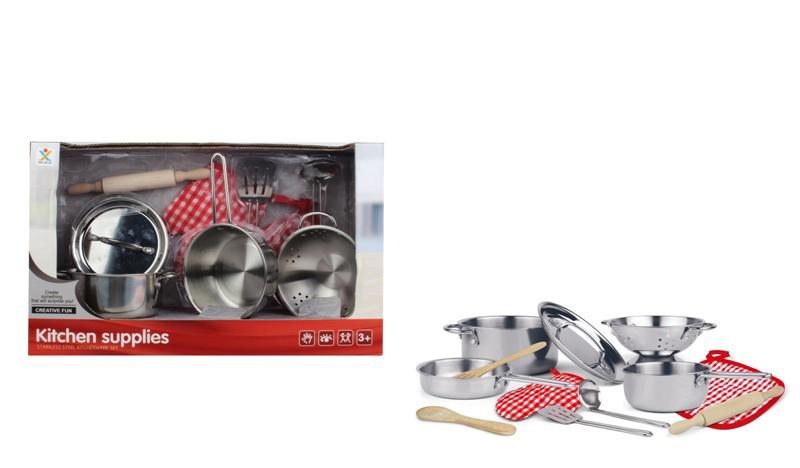 Посуда 988-C11  кастрюли,сковородка кухон.набор,металл,прихватка,в кор-ке,42-26-15см