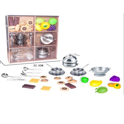 Посуда YH2018-5D  чайный сервиз,дуршлаг,металл,сладости,фрукты(на липучке),в кор-ке,34-38-10см