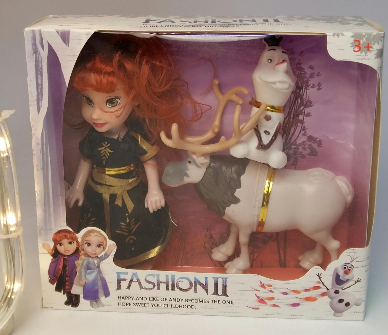 """Кукла в наборе для девочки """"Холодное Сердце"""", игрушка Олень Свен и снеговик Олаф Disney Frozen Н3"""