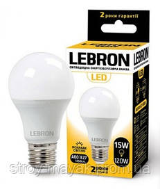 Світлодіодна LED лампа LEBRON L-A70, 15W, Е27 м'яке світло