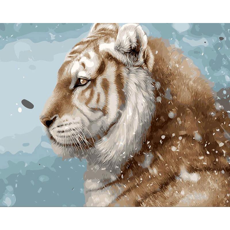 """Картина по номерам  40*50 см """"Тигр в снегах"""""""