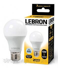 Светодиодная LED лампа LEBRON L-A60, 10W, Е27 дневной свет