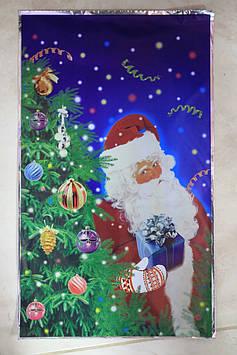 Пакет полиэтиленовый фольга с рисунком новогодним дед мороз