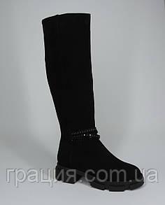 Чоботи жіночі модні зимові замшеві високі