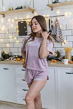 Красивая пудровая пижама из мягкого велюра