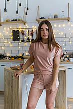 Женская пижама футболка с шортами цвет пудра ткань рубчик
