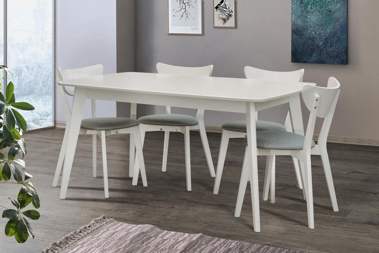 Стіл обідній дерев'яний розкладний Модерн 120 білий