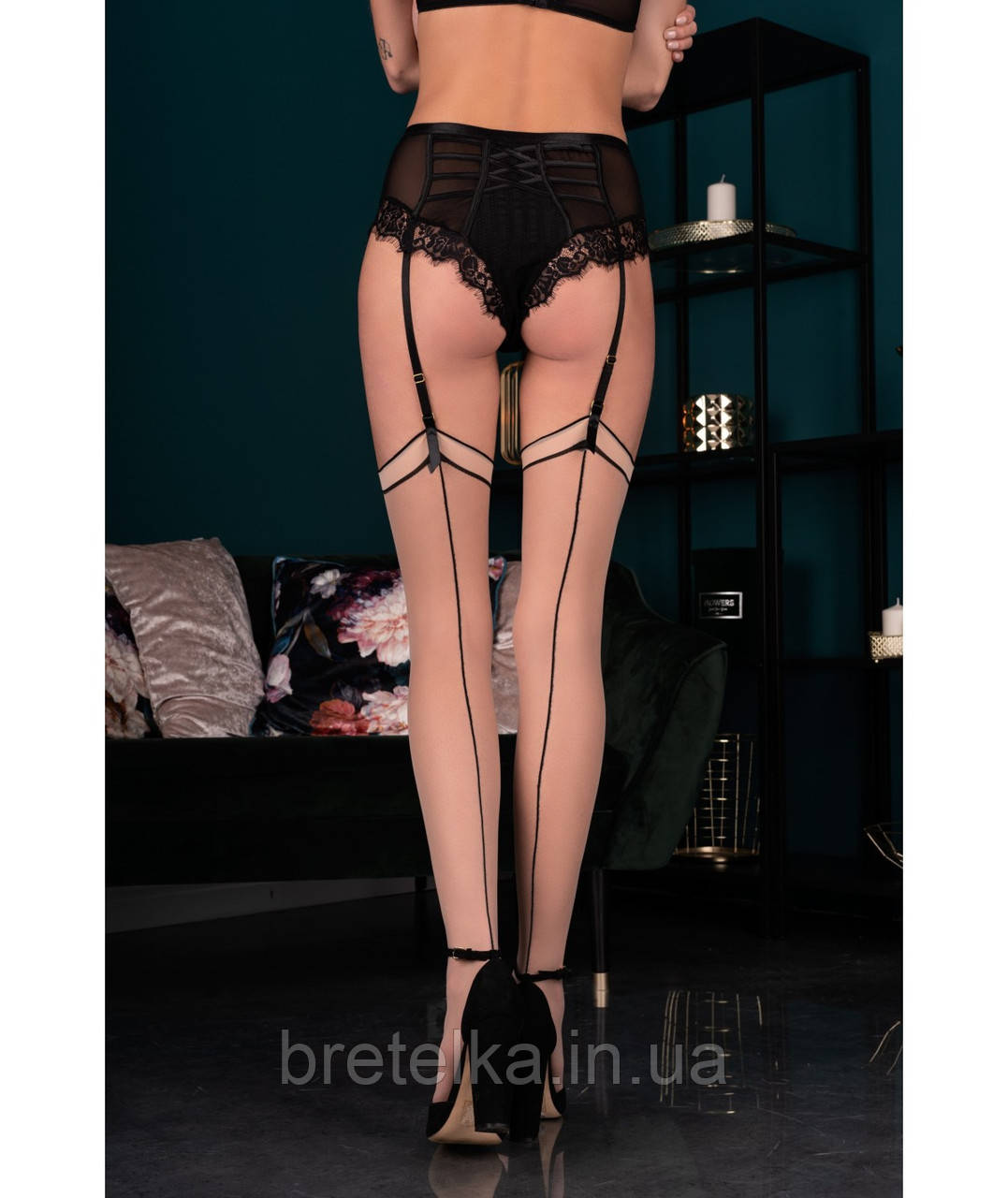 Чулки бежевые со швом черным Livia Corsetti Fashion Maramet 20 den