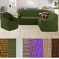 Натяжные чехлы на угловой диван и кресло без оборки универсальный жатка Зеленый Турция