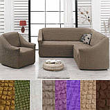 Чехол на угловой диван кресло натяжной турецкий без оборки жатка Зеленый Разные цвета, фото 6