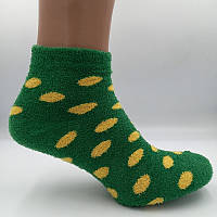 Носки женские теплые махра-травка горошек зеленый