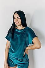 Изумрудная женская пижама для дома и сна с шортами
