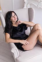 Женская пижама для сна из мягкого велюра цвет черный