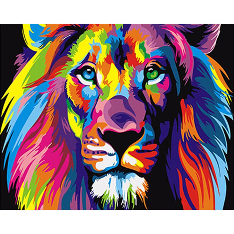 """Картина по номерам 40*50 см """"Радужный лев"""""""