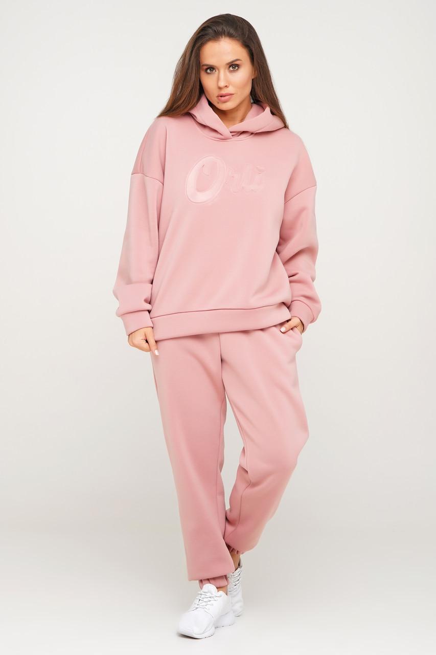 Розовый теплый костюм свитшот и штаны