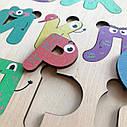 Дерев'яний алфавіт кольоровий, українська абетка різнокольорова, пазл Алфавіт для дітей, фото 2