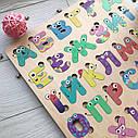 Дерев'яний алфавіт кольоровий, українська абетка різнокольорова, пазл Алфавіт для дітей, фото 3