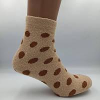 Носки женские теплые махра-травка горошек телесные