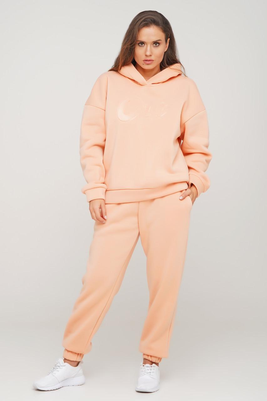 Теплый персиковый костюм свитшот-oversize и штаны