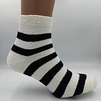 Носки женские теплые махра-травка полоска черно-белая