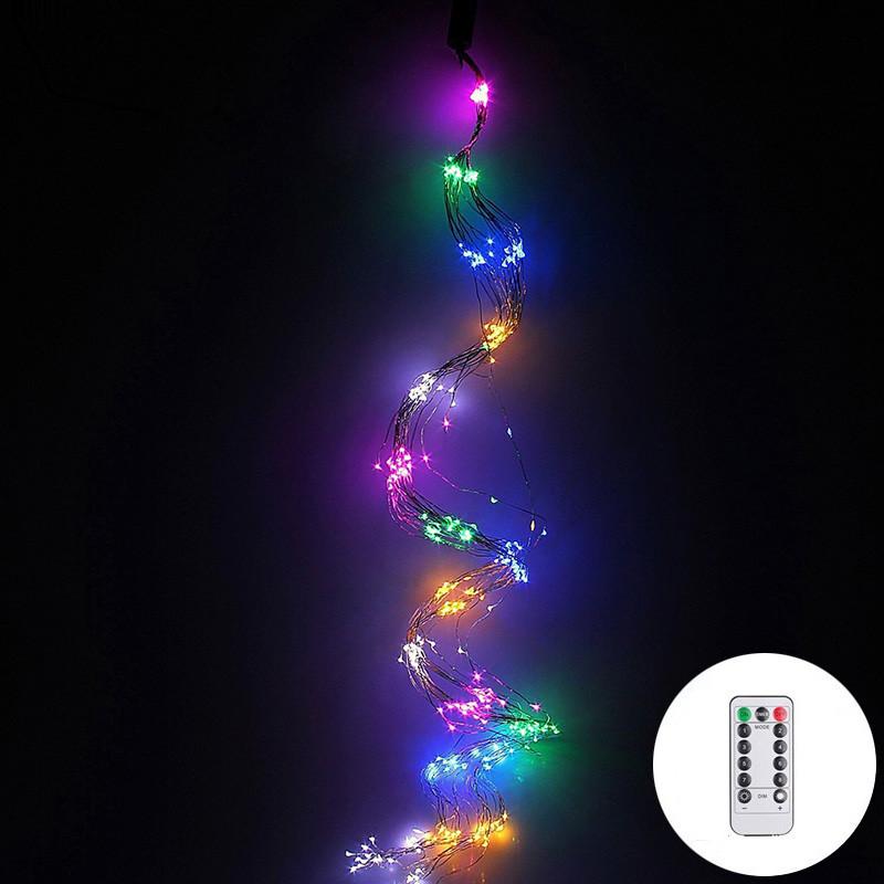 Гирлянда конский хвост 15 нитей 300 led с пультом от сети (разноцветный)