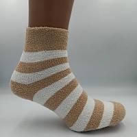 Носки женские теплые махра-травка полоска бело-кофейная