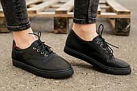 Мокасины женские черные на шнурках (Эко-кожа) Весна-Осень