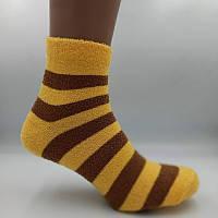 Шкарпетки жіночі теплі махра-травичка смужка жовто-коричнева