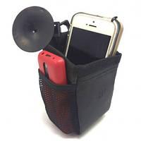 Карман  для телефона тканевый  черный  на присоской (ткань+кожзам)   (3312)