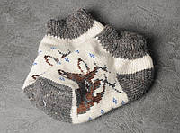 Шерстяные носки детские 'Олени', зимние детские носочки, 16-19 см, фото 1