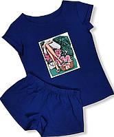 Жіноча піжама синя, шорти і футболка.