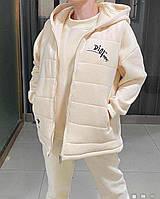 Женский брендовый спортивный костюм тройка молочный 20-0338