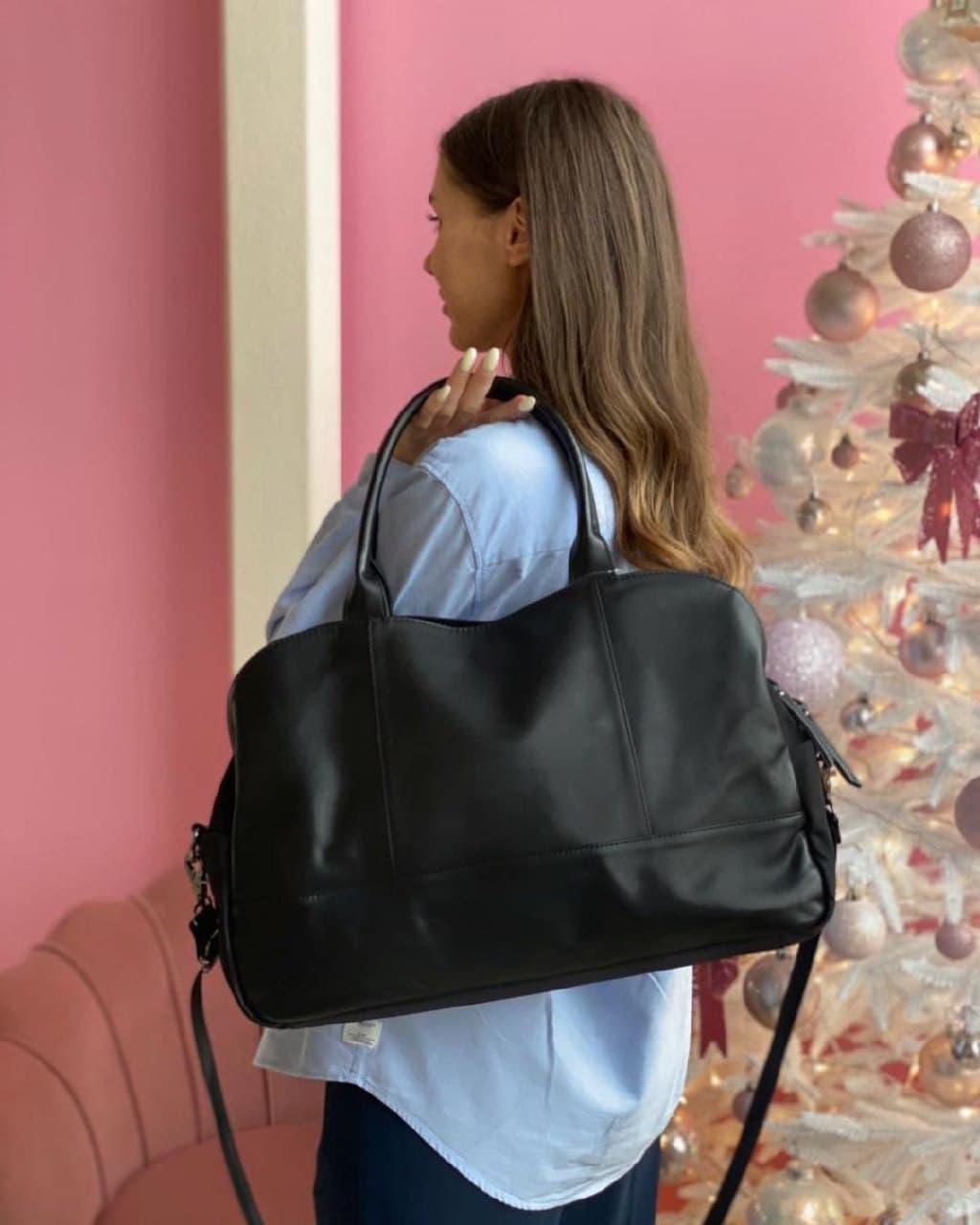 Женская кожаная сумка magicbag большая черная