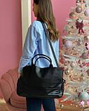 Женская кожаная сумка magicbag большая черная, фото 3