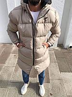 Чоловіча зимова куртка подовжена бежева, фото 1