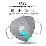 Респіратор маска захисна FFP2 KN95 з клапаном багаторазова Сіра, фото 3